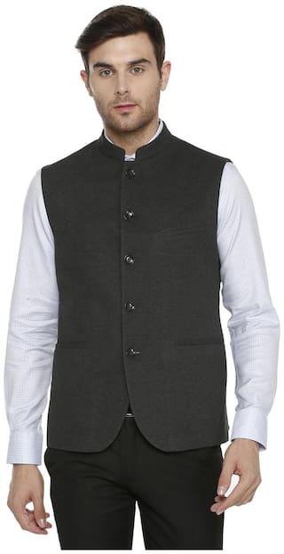 Allen Solly Men Cotton Slim fit Waistcoat - Grey