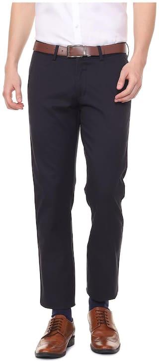 Allen Solly Men Solid Slim Fit Formal Trouser - Blue