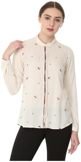 Allen Solly Women Regular Fit Printed Shirt - Cream