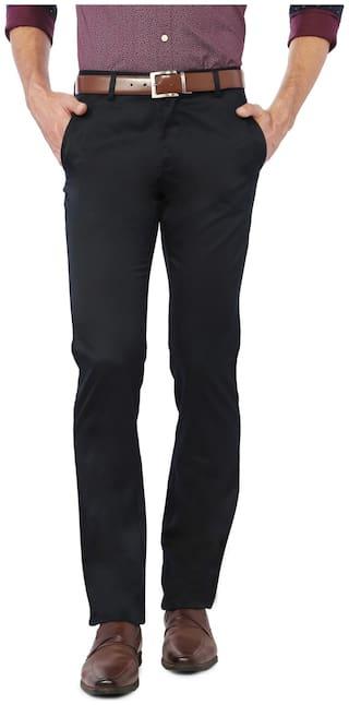 Allen Solly Men Solid Regular Fit Formal Trouser - Black
