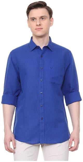 Allen Solly Men Blue Solid Slim Fit Casual Shirt