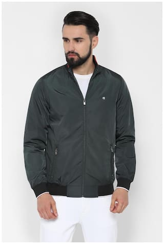 Allen Solly Men Polyester  Leather Jacket Green