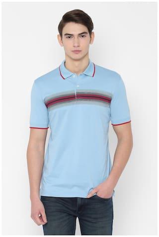 Allen Solly Men Blue Regular fit Cotton Polo collar T-Shirt - Pack Of 1