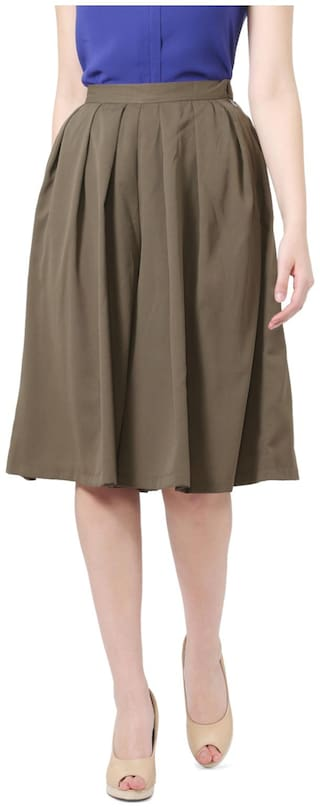 Allen Solly Polyester Regular Fit Green Skirts
