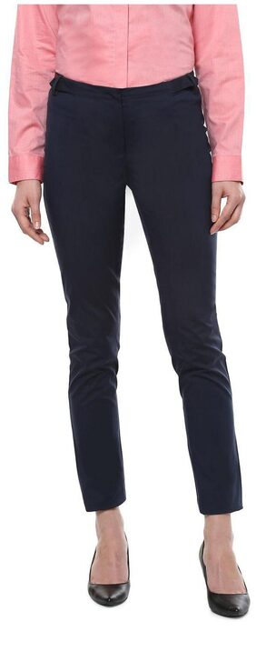 Allen Solly Women Straight Fit Mid Rise Solid Pants - Blue