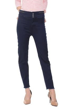 Allen Solly Women Slim Fit Mid Rise Solid Jeans - Blue