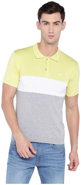 Allen Solly Men Regular fit Polo neck Striped T-Shirt - Yellow