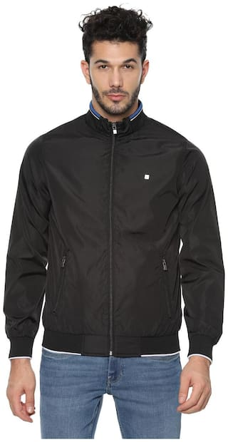 Allen Solly Men Black Solid Bomber jacket