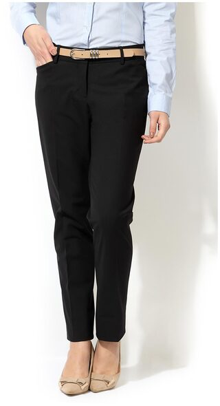 Allen Solly Black Polyester Trouser