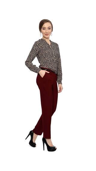 Maroon Allen Solly Trouser Casual Cotton TAwxg4q5