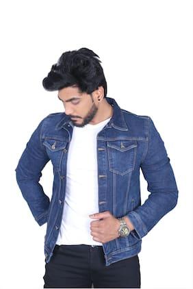 Allons-Y Let's go Men Blue Solid Denim jacket