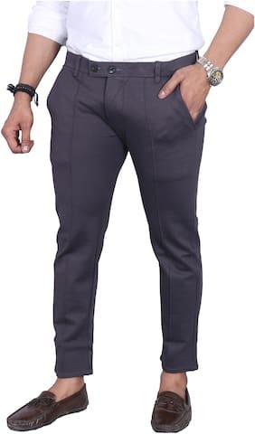 Allons-Y Let's go Men Grey Solid Regular fit Chinos