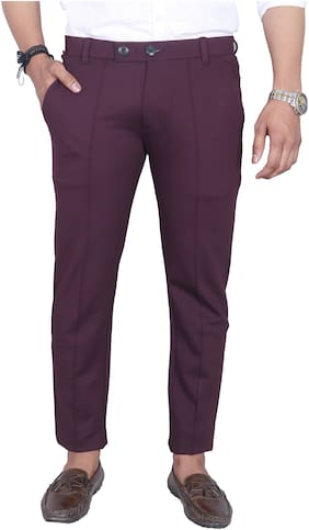 Allons-Y Let's go Men Lycra Solid Wine  Casual Trouser