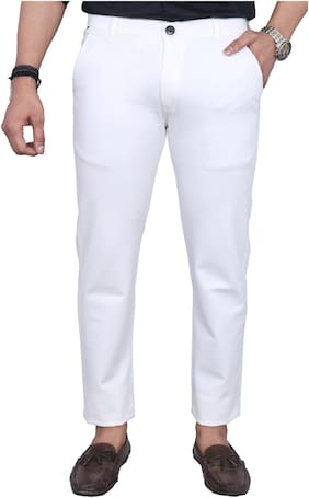 Allons-Y Let's go Men White Solid Regular fit Chinos