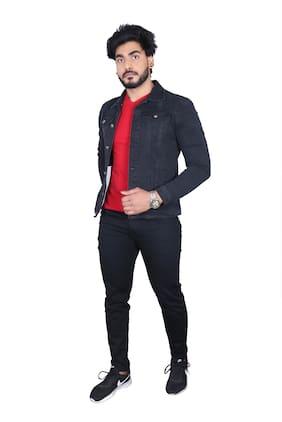 Allons-Y Let's go Men Black Solid Denim jacket