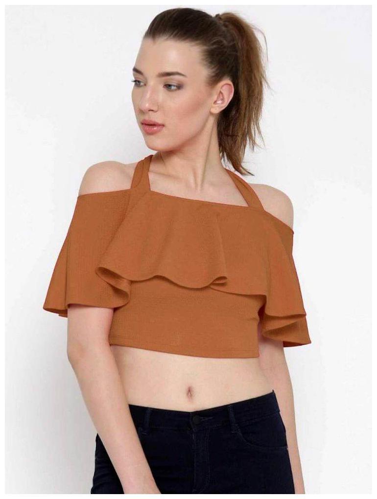 Alposh Polyester Solid Tan Tops   Tunics For Women