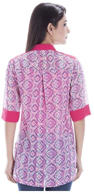 Women's Amadore Pink Shirt Geometric Print Casual 6nx84qR
