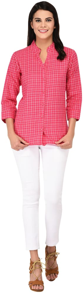AMADORE - GIFT OF LOVE Women Regular Fit Checked Shirt - Pink