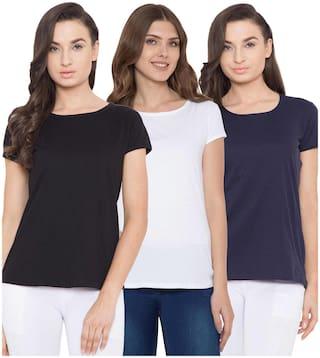 American-Elm Women Multi Slim fit Round neck Cotton T shirt