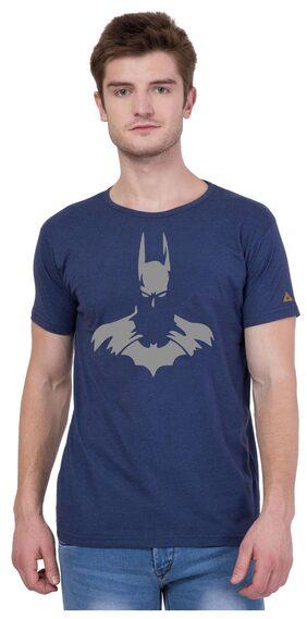 American-Elm Men Slim Fit Round Neck Printed T-Shirt - Blue
