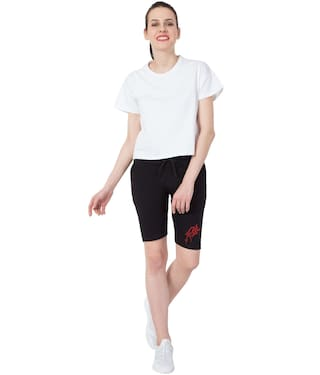 Cotton Red Print Elm Black Women's Short Capris Colour American Star gqnBI1twSS