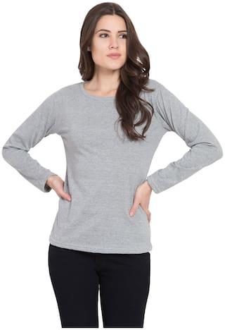 American-Elm Women Grey Slim fit Round neck Cotton T shirt