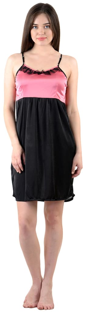 American-Elm Satin Night Gown Solid Nightwear Black - (Pack of 1 ) 4d0a7e65f