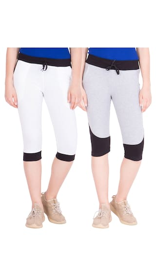 American-Elm Pack of 2 Women's Cotton Capris-White;Grey
