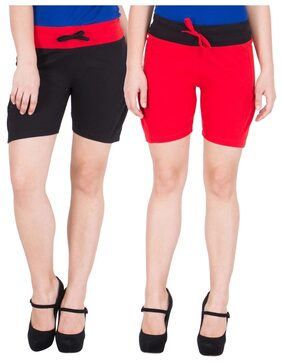 American-Elm Women's Pack of 2 Cotton Hot Short- Black;Red
