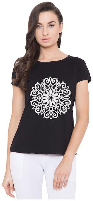 American-Elm Women's Black Cap Sleeves Floral Cotton Printed T-Shirt