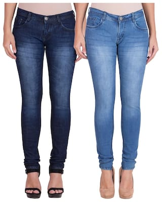 American-Elm Women's Stretchable Faded Jeans- Pack of 2