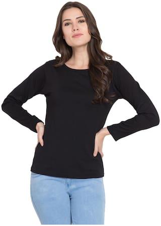 American-Elm Women Black Slim fit Round neck Cotton T shirt