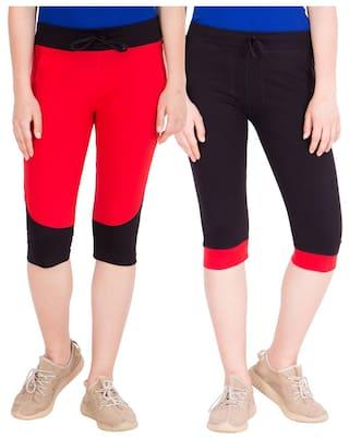 American-Elm Pack of 2 Women's Cotton Capris-Red;Black