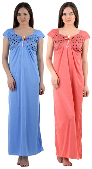 Buy American-Elm Pack Of 2 Sky Blue And Dark Pink Cotton Nightwear ... 47418d7a0