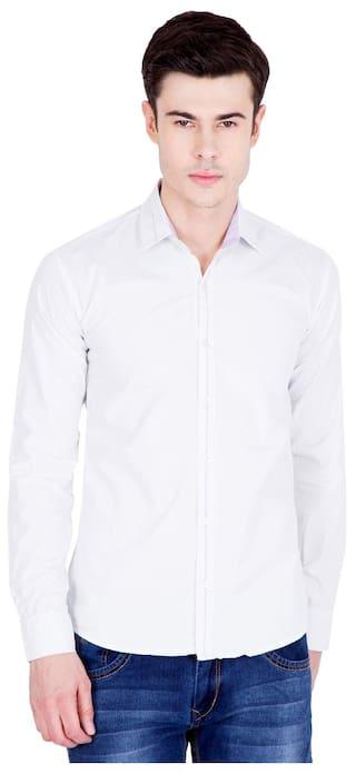 8b08977171 Buy American-Elm Men Regular Fit Casual shirt - White Online at Low ...