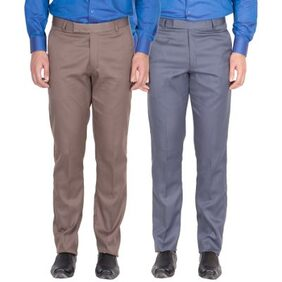 American-elm Men's Light Brown;Grey Blue Colour Formal Trousers- Pack Of 2