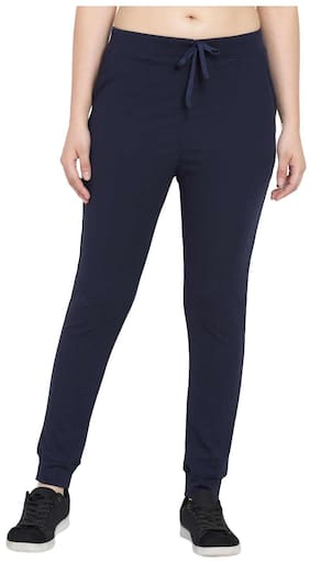 American-Elm Women Slim Fit Polyester Solid Track Pants - Blue