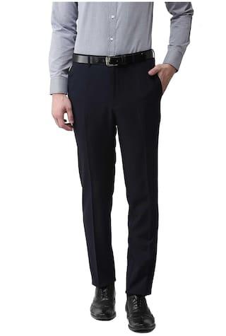 American-Elm Men Solid Slim Fit Formal Trouser - Black