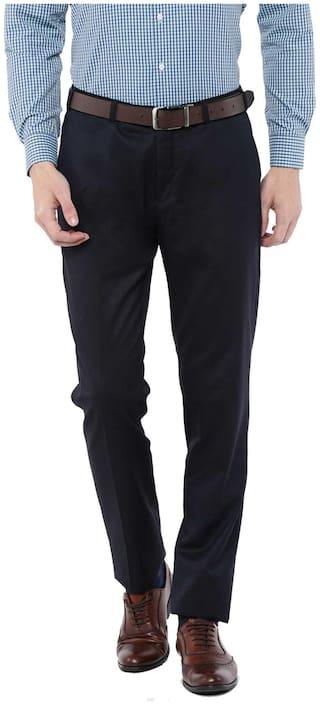 American-Elm Men Solid Slim Fit Formal Trouser - Navy Blue
