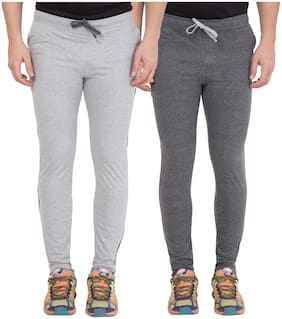 Slim Fit Cotton Track Pants Pack Of 2