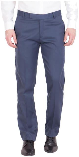 American-Elm Men Solid Slim Fit Formal Trouser - Blue