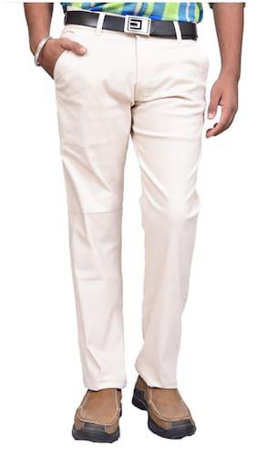 American Noti Men White Solid Slim fit Regular trousers
