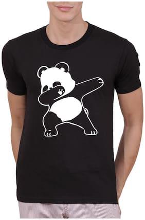 Amitto Men Regular fit Round neck Graphic print T-Shirt - Black