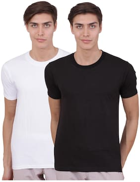 Amitto Men Multi Regular fit Cotton Round neck T-Shirt - Pack Of 2