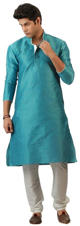 Amora Men Regular Fit Silk 3/4th Sleeves Printed Kurta Pyjama - Blue