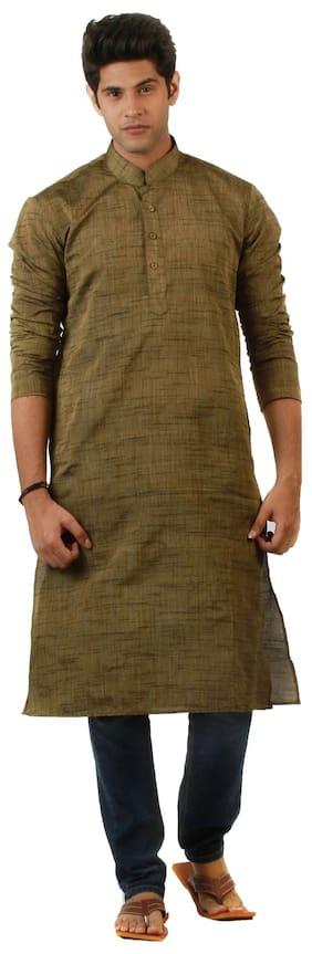 Amora Designer Ethnic Rust Brown Solid Blended Khadi Straight Kurta For Men