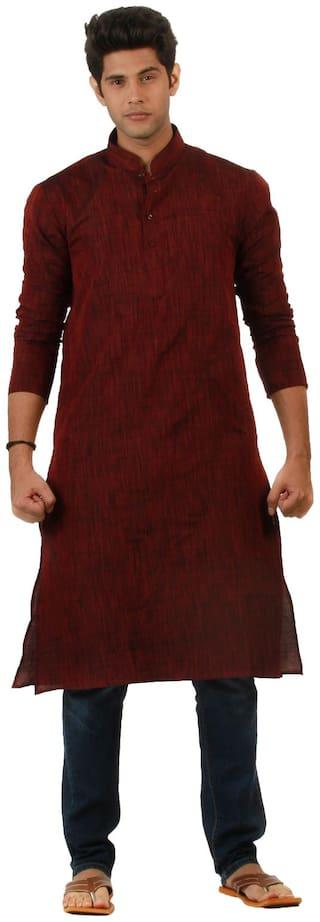 Amora Designer Ethnic Maroon Solid Blended Khadi Straight Kurta For Men