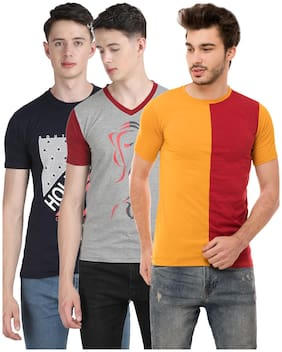 Ample Men Multi Regular fit Cotton Blend Round neck T-Shirt - Pack Of 3