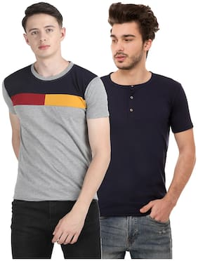 Ample Men Grey & Black Regular fit Cotton Blend Round neck T-Shirt - Pack Of 2