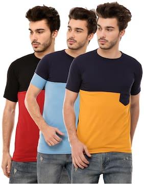Ample Men Multi Regular fit Cotton Blend Round neck T-Shirt - Pack Of 3